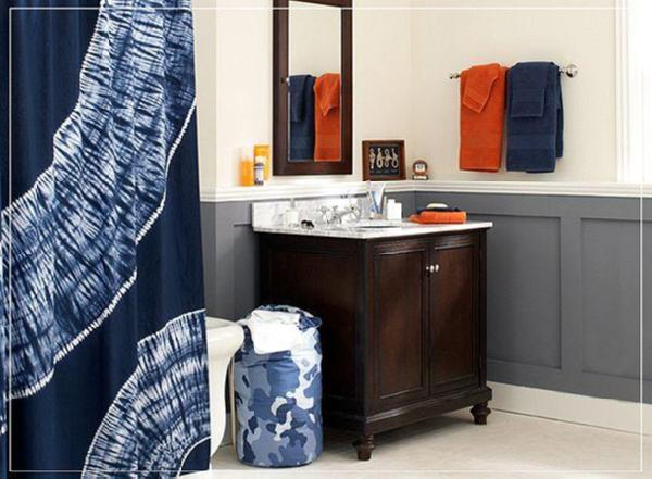 Pbteen Tie Dye Blue Orange Bathroom