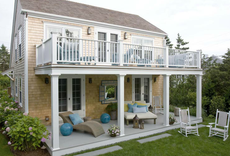 Second floor balcony cottage deck patio - Two story house plans with covered patios ...
