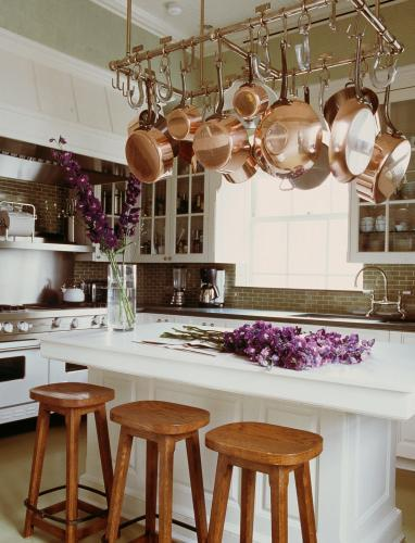Pot Rack over Kitchen Island - Traditional - kitchen - Michael S Smith
