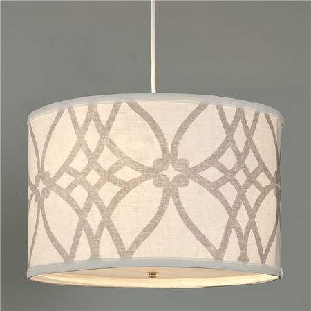 Trellis linen drum shade pendant shades of light Kitchen table pendant lighting