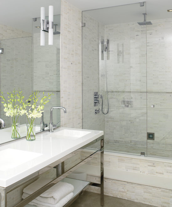 Master bath shower designs contemporary bathroom for Modern chic bathroom designs