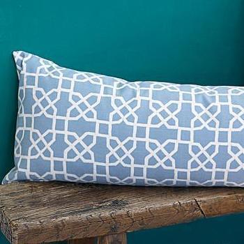 John Robshaw Persian Garden Blue Trellis Bolster Pillow Cover, Garnet Hill