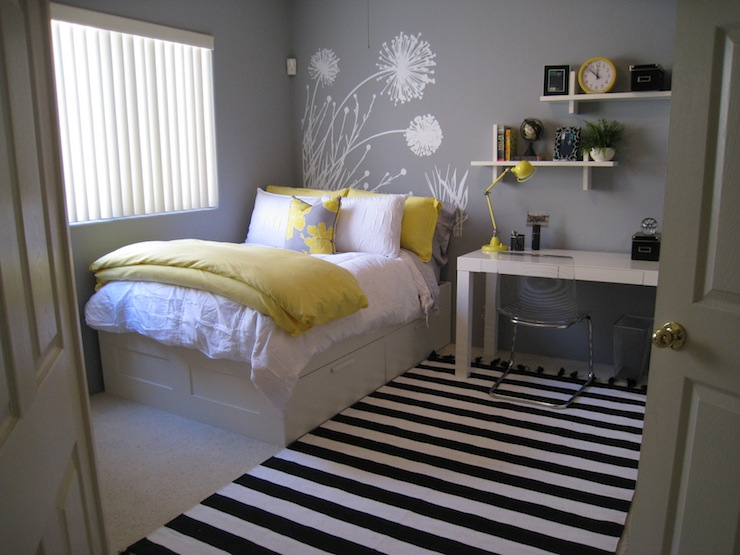 Yellow and gray bedroom contemporary bedroom benjamin moore pigeon gray - Teenage bedroom designs for small spaces decoration ...