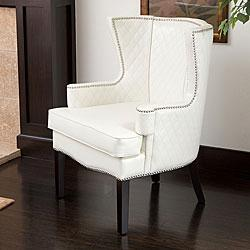 Roma White Quilted Leather Arm Chair Overstock Com