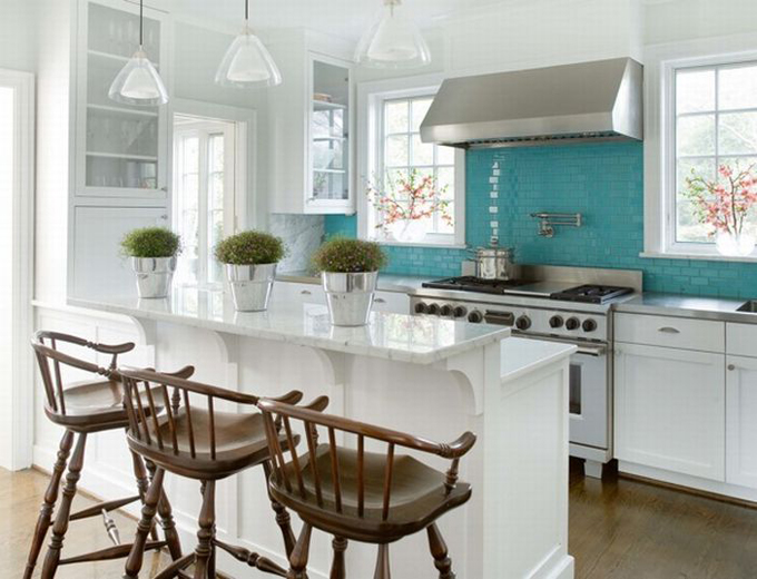 Turquoise Backsplash, Pot Filler, White Kitchen Cabinets, White Carrara  Marble Countertops, Glass Island Pendants, Glass Front Cabinets, Peninsula,  ...