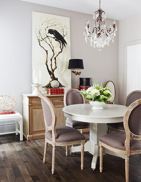 White Pedestal Dining table Transitional dining room