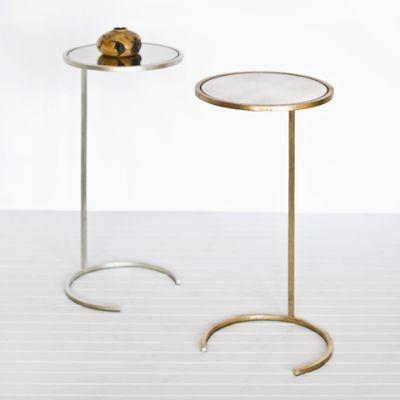 Monaco Round Cigar Table Metal Side Table Silver Leaf Gold Leaf Mirrored  Top Metal Accessory Worlds ...