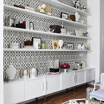 Imperial Trellis Wallpaper, Contemporary, living room, Samantha Pynn