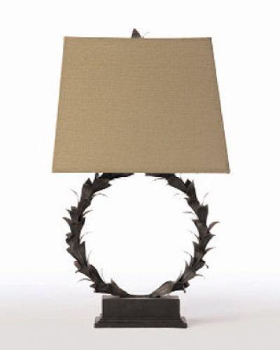 Laurel Wreath Metal Resin Table Lamp Barbara Cosgrove Lamps Lighting  Designer Light Fixtures Table Lamp Black White Silk