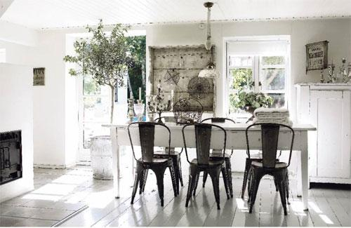 Modern Farmhouse Dining Room Design Tolix Marais A Chairs White Table Floors Fireplace Cupboard Yoke Pendant And Soft Gray