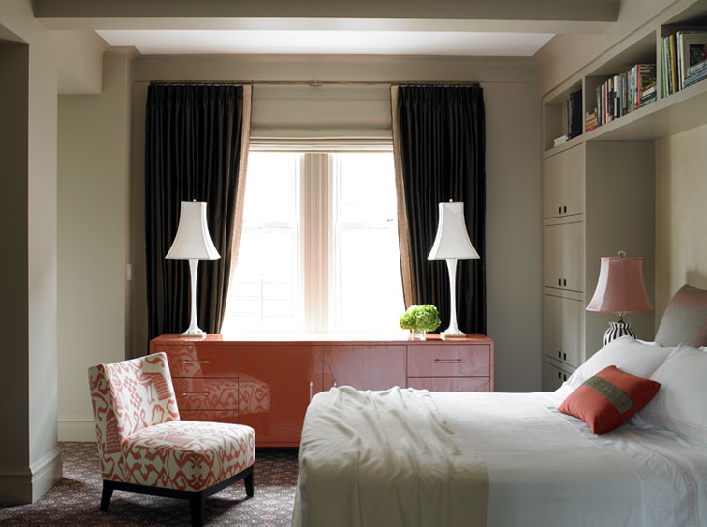 orange lacquer cabinet contemporary bedroom katie ridder
