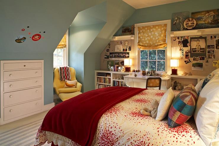 Attice kids room contemporary girl 39 s room kristen for Teenage girl attic bedroom ideas