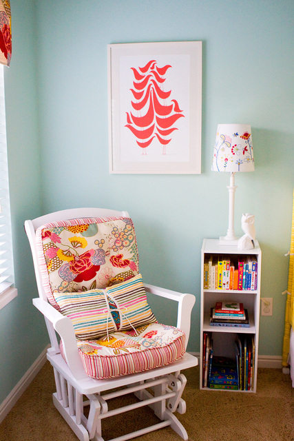 red & turquoise blue girls nursery design with white rocking chair ...