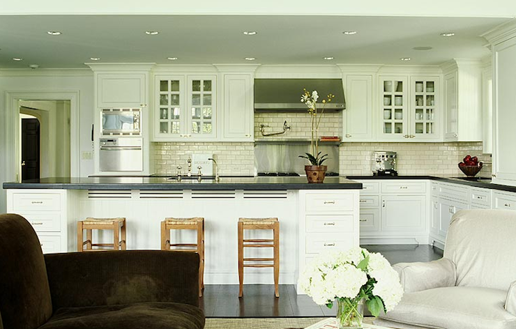 white kitchen cabinets ivory crackle subway tiles backsplash glass