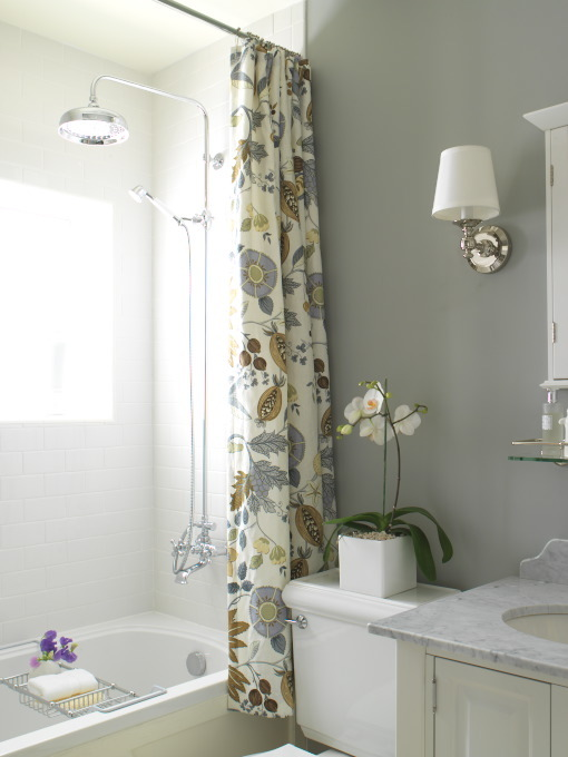 White Blue Yellow Custom Made Floral Shower Curtain From Victoria Hagan  Four Seasonu0027s Fabric In Winter, Rain Shower Head, Polished Chrome Sconces  And Gray ...