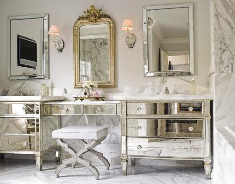 Gray Curved French Bathroom Vanity Design Ideas