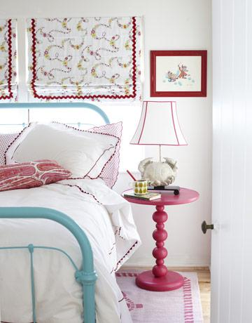 Turquoise bed cottage girl 39 s room krista ewart design - Turquoise and pink bedroom ...