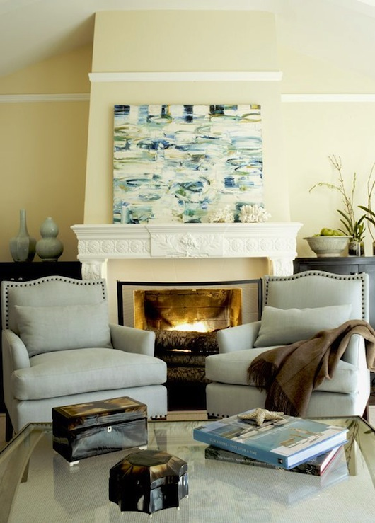 Chairs in Front of Fireplace - Transitional - living room - Shaun ...