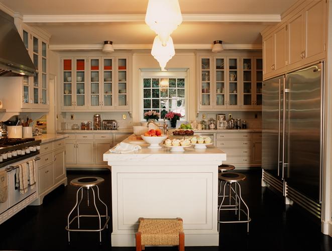 Glass Front KItchen Cabinets - Transitional - kitchen - Kristen ...