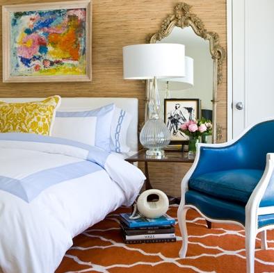 Orange Trellis Rug Eclectic Bedroom David Jimenez