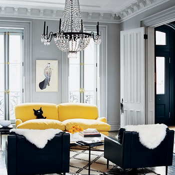 Yellow and Gray Room, Contemporary, living room, Melanie Acevedo Photography