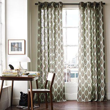 Ikat ogee linen window panel west elm for West elm window treatments