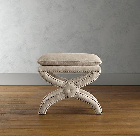 Terrific Toscane Linen Nailhead Bench Ottomans Benches Theyellowbook Wood Chair Design Ideas Theyellowbookinfo