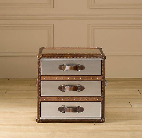 Greatest Mayfair Steamer Cube with Drawers Brushed Steel - Trunks  KL58