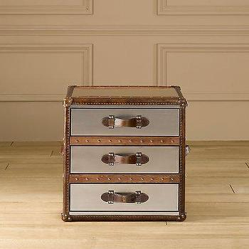 Mayfair Steamer Cube with Drawers Brushed Steel, Trunks, Restoration Hardware