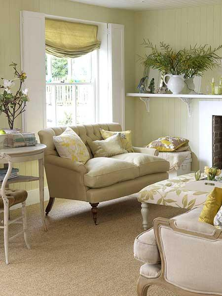Light Green Beige Living Room
