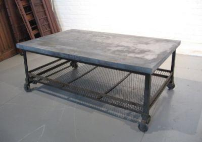 Oversized galvanized merchantile metal coffee table Industrial metal coffee table