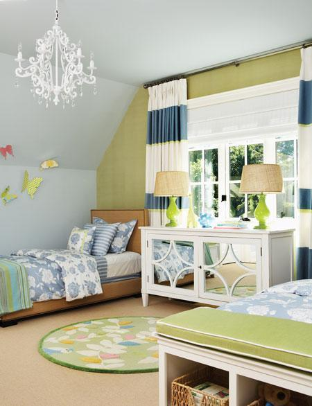 Horizontal Striped Curtains Contemporary Girl 39 S Room House Home