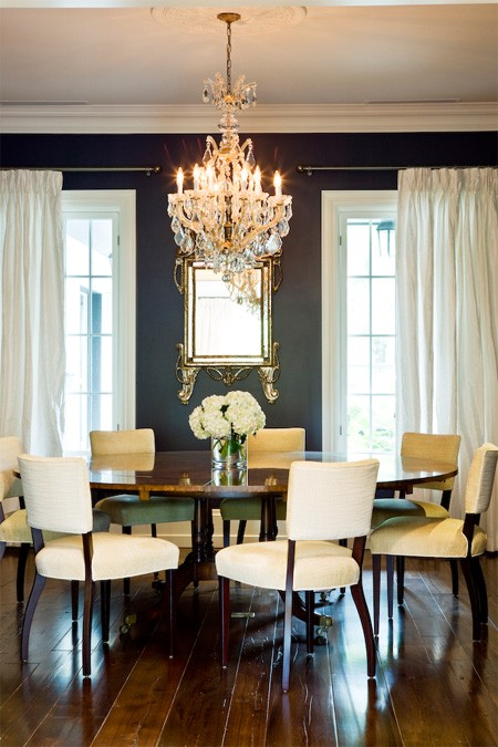 Round dining room table transitional dining room for Beautiful dining room photos