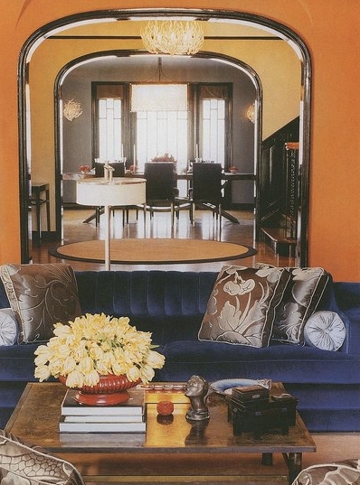 Orange and blue room eclectic living room o magazine for Blue and orange room