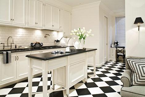 Chceckered Tile Floor  Transitional kitchen Eva Quateman