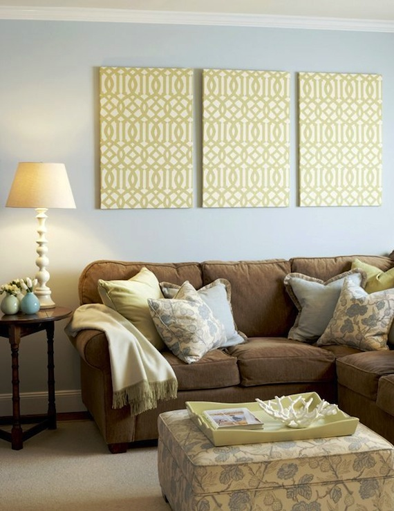 View Full Size Yellow Brown Blue Living Room Design