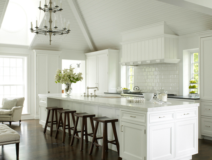Long Kitchen Island - Transitional - kitchen - House Beautiful