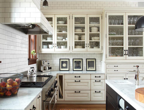 Subway tile range hood transitional kitchen kitchen lab for Black kitchen cabinets with glass doors