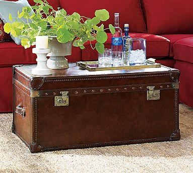 Pottery barn expedition trunk look 4 less for Overstock trunk coffee table
