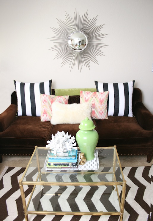 Black And White Striped Rug Transitional Living Room