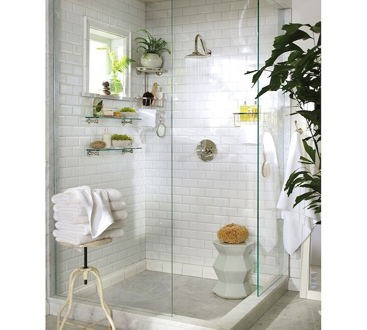 Pottery Barn Subway Tiles Shower Surround White Modern Stool Vintage Rainshower Head Glass Bathroom Shelves And Frameless
