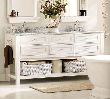 Classic Double Sink Console   White   Pottery Barn