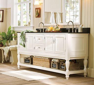 Wonderful Newport White Double Sink Granite Console. Potterybarn.com