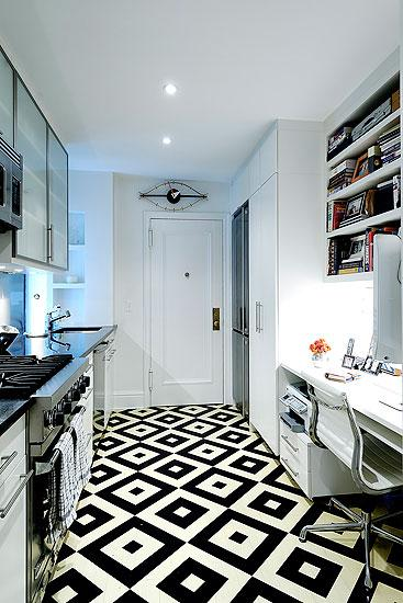 Black And White Geometric Floor Contemporary Kitchen