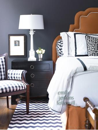 Blue and Orange Bedroom with CReam Headboard Transitional Bedroom