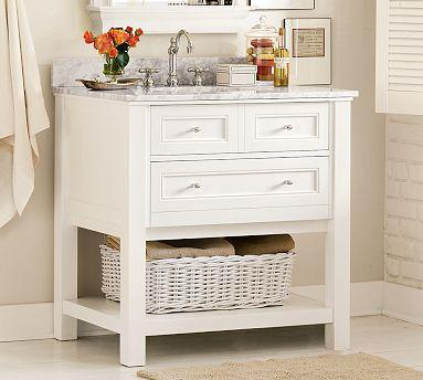 Classic Single Sink Console   White   Pottery Barn