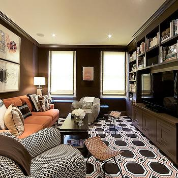 Brown Media Cabinets, Contemporary, media room, Christina Murphy Interiors