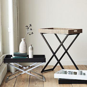 West Elm Wood Metal Butler Trays Stands - West elm tray table