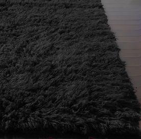 Clearance Rugs, Standard Greek Flokati Shag Flokati Shag Black Rug