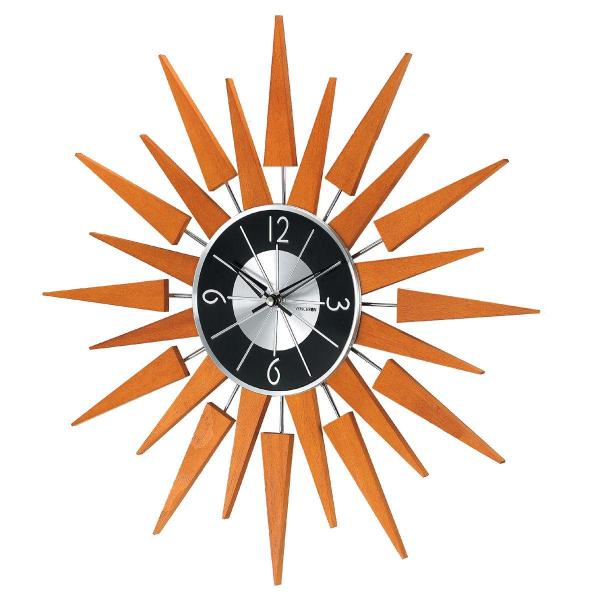 george nelson wooden sunburst clock in natural wood